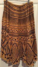 "MM Embellished Studded Suede Feel Boho Long Skirt Feather Print Waist 32"""