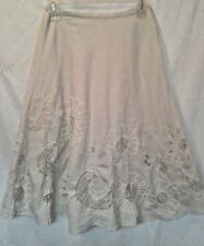 CHICOS IVORY COLORED CRINKLE LACE SEQUIN FLORAL CALF LENGTH FULL SKIRT SZ 0