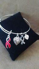 Expandable Bangle Charm Bracelet Heart Disease Awareness Support RED Ribbon