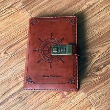 A5 Code Verschluss Leder leeres Tagebuch, Notizbuch mit Code Verschluss, Seemann