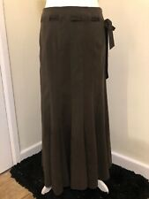 """BHS Chocolate Brown Flared Maxi Skirt Faux Suede Feel Size 10 Length 35"""" Ex Cond"""