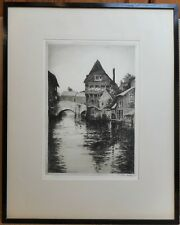 A Bridge in Bordeaux. Etching by William Tatton Winter RBA listed artist, 1924