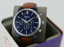 NEW AUTHENTIC FOSSIL LANCE BLUE BROWN LEATHER CHRONOGRAPH MEN'S BQ2159 WATCH