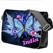 PERSONALIZZATO SCUOLA/College/GRANDE Laptop Bag AGGIUNGE UN NOME FARFALLE BLU