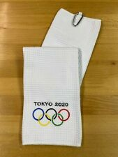 TOKYO 2020 Qlympics,  Waffle Microfiber Shop/Golf White Towel, Embroidered