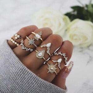 10 teiliges Ring Set Ringe Bohemian Indi Modeschmuck Glitzer Krone Love Schmuck
