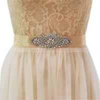 New Vintage Bridal Sash Handmade Ribbon Crystal Rhinestone Wedding Dress Belt