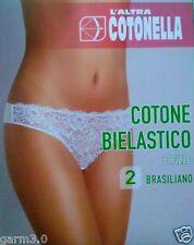 2 SLIP donna intim BRASILIANA cotone e pizzo COTONELLA sexy GD170 bianco nero