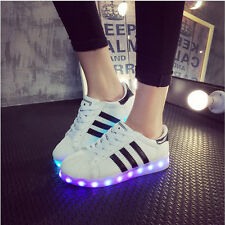 LED Night Light-up SNEAKERS Men Women Lovers Hiphop Lace up Casual Shoes Sports Eur46 Black