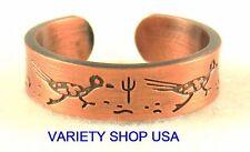 Antiqued Copper Desert Scene Ring Adjustable Band with Roadrunner Bird 3028-B