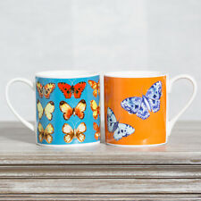 Set of 2 Butterfly Mugs White Fine Bone China 370ml 13oz Tea Coffee Cups Gift
