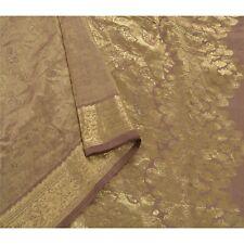 Sanskriti Vintage Heavy Saree 100% Pure Slk Woven Kanjivaram Brown Sari Fabric
