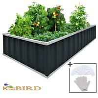 KING BIRD Outdoor 68''x35.5''x12'' Metal Raised Garden Bed Planter Kit Box Grey