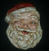 Giant Winking Santa Claus Plaster Chalkware Wall Hanging 12 1/2 Inches Tall MCM