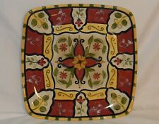 "Pier 1 Vallarta Earthenware Square Serving Platter 13"" Red & Yellow Floral"