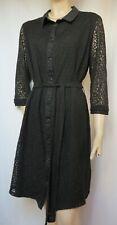 Laura Ashley Spitzenkleid 44 schwarz Spitze Hemdblusenkleid Baumwolle