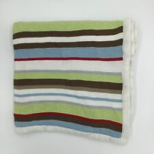 Hooray Cynthia Rowley Striped Cotton Knit Baby Blanket Red Green Blue White
