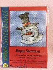 MOUSELOFT STITCHLETS CROSS STITCH KIT ~ HAPPY SNOWMAN ~ CHRISTMAS ~ NEW