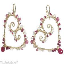 Bora Bora 229 ~Heart Earrings with Pearls and Stone & Metal Choice