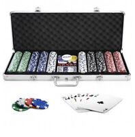 Poker Chips Set 500 Chips Poker Dice Chip Set w/ Silver Aluminum Case
