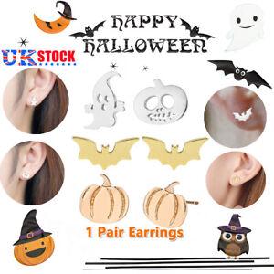 Women Pumpkin Ghost Halloween Pumpkin Bat Stud Earrings Wild Jewelry Xmas Gift