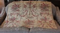 """French Antique c1900 Cotton/Linen Home Fabric~Baskets, Roses & Scrolls~52""""LX41""""W"""
