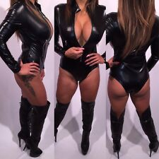 Connie's Black Bodysuit Wet Leather look Zip Front closure S