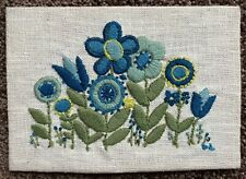 1973 Vintage Retro Mod Flower Crewel - Blue & Green Flowers - HTF!