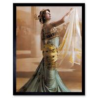 Hand Coloured Portrait Dancer Spy Mata Hari Photo Framed Wall Art Poster
