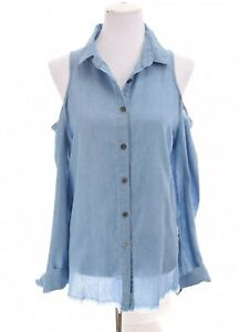 Umgee USA Womens Cold Shoulder Chambray Denim Button Up Shirt Tie Back Sz Small