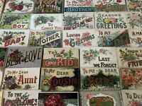 Big Estate Lot of 35 Family Greetings,Large Letter Words~Antique Postcards-b108