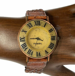 Fossil Watch Stone Copper Japan Leather Band Wristwatch Works New Battery Vtg