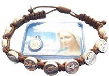 Medjugorje bracelet brown Catholic handmade bracelet + Holy Card