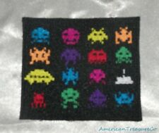 Embroidered Video Game 8-Bit Pixel Aliens Vintage 80s Retro Style Patch Iron On
