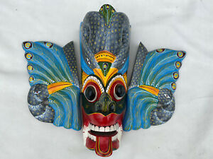 """Oriental Handmade Colorful  Wooden Mask From Sri Lanka, 11"""" High By 15"""" Wide"""