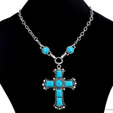 Charm Women Chunky Statement Bib Turquoise Cross Pendant Long Chain Necklace
