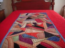 VINTAGE CRAZY QUILT SECTION SURROUNDED BY HAND QUILTED RED FABRIC~GORGEOUS !!!