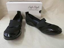 Women's Size 7.5 M SoftStyle Haden Black Fabric Slip On Z Strap Mary Jane Flats