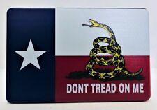 "TEXAS FLAG, DONT TREAD ON ME, Aluminum Trailer Hitch plug Cover, UV, 4"" X 6"""
