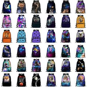 Galaxy Wolf Cat Fox School Bag Girls Boys Backpack Women Laptop Rucksack Satchel