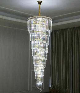 LED Chandelier Crystal Staircase Lamp Lobby Light Spiral Pendant Light Decor