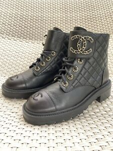 RRP 1500 FW20 Chanel Combat Boots Black Size IT37, US 7 Used