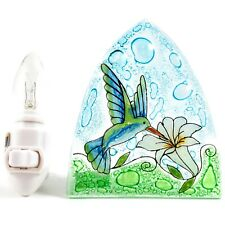 Fused Art Glass Hummingbird & Flower Nightlight Night Light Handmade Ecuador