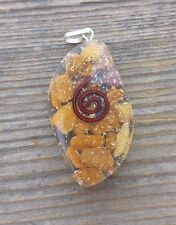 ORGONE YELLOW JASPER GEMSTONE EYE SHAPED PENDANT ORGONITE (ONE)