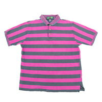 Vtg Colours Polo Shirt Mens LARGE Nicely Faded Surfer Striped Vaporwave Purple