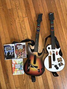 Wii Guitar Hero White Gibson/Sunburst Guitars W/ Three Games
