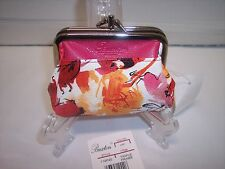 """Buxton Triple Frame Coin Purse Rose and Floral - 5"""" Long,  3.5"""" Tall"""
