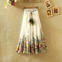 Women's Floral Bohemia Chiffon Maxi Long Skirt Elastic Waist Summer Beach Dress