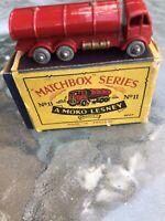 VINTAGE +ORIGINAL MATCHBOX MOKO NUMBER 11 MODEL ERFESSO PETROL TANKER BOXED