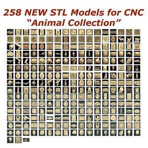 258 NEW Animals 3d STL Models for CNC Router 3d-Printer Artcam Aspire Cut3d